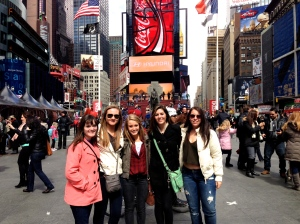 My friends and I in Times Square, one of the filming locations of The Devil Wears Prada