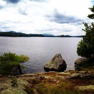 View of Lower Saranac Lake from Camp Guggenheim