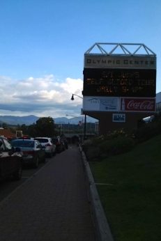 "Lake Placid Olympic Center, home of the 1980 ""Miracle on Ice,"" at dusk."