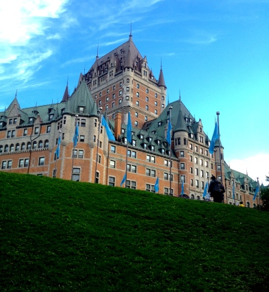 Looking up at Le Chateau Frontenac, situated by the St. Lawrence River in Old Town.