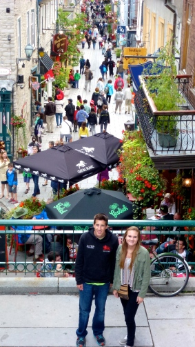 Shopping in Rue du Petit Champlain. My mother insisted on a photo of my brother and I.