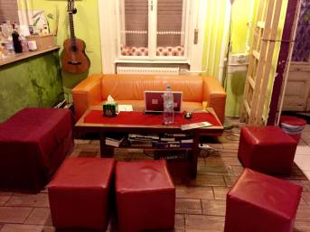 "The ""living room"" of the Groove Hostel."