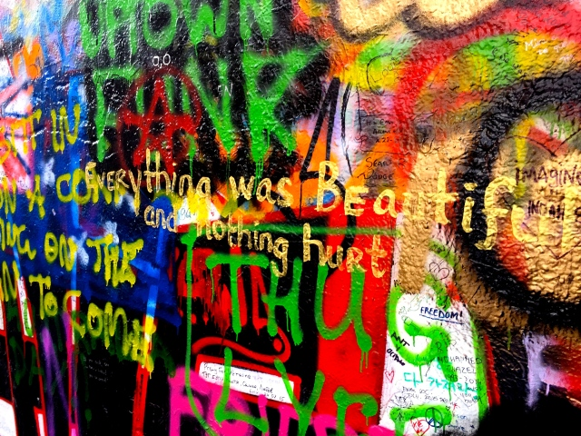 """Everything was beautiful and nothing hurt,"" written on the Lennon wall"