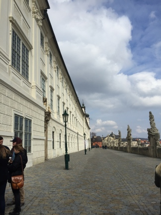View of the path leading to St. Barbara's Church which reminded me of Prague's Charles Bridge.
