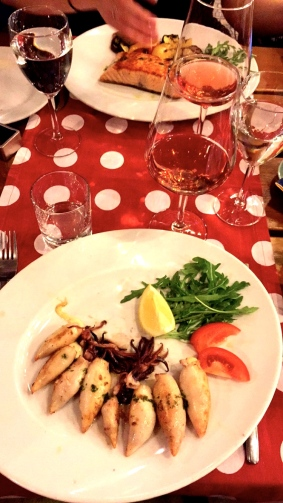 My birthday dinner of stuffed calamari with prosciutto and Rosé.