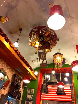 In addition to lights, Luka Lu's ceiling featured an upside-down table complete with dolls and food.