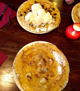 A chocolate chip/ice cream pancake and my own banana/rum pancake. Both were delicious.