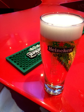 At one point during the tour, we all gathered around a bar to learn how to properly taste a Heineken.