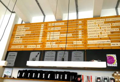 Loved the look of the menu as it added to the illusion of space in a small-scale cafe