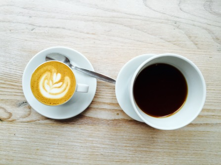 Our macchiato and aeropress coffees.
