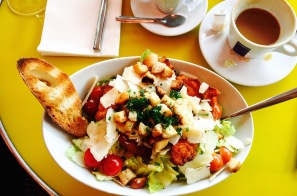I enjoyed our first meal in the city at a cafe near the Eiffel Tower, a Caesar salad and coffee to start the day.