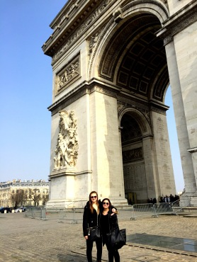 My roommate and I posing in front of the Arc De Triumphe, another classic feature of the city.