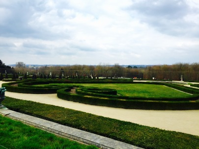 View of the gardens at Versailles.