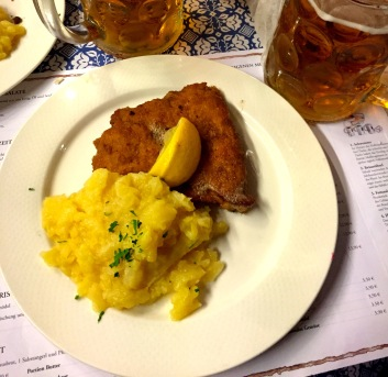 My meal of schnitzel and sauerkraut. Delicious as expected.