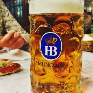 The stein that the Hofbräuhaus Original beer came was so heavy that I couldn't hold it by the handle alone out of fear I'd strain my wrist.