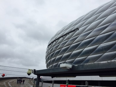 Outside view of the Allianz Arena, home of FC Bayern München.