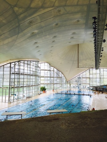 Inside look of the Munich Olympic swimming pool.