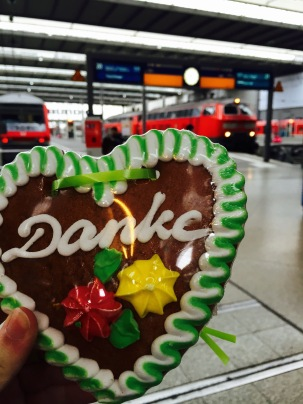 Before boarding the train to Zurich, I bought a giant heart-shaped cookie with the German word