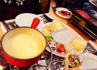This was one of the best meals I had while abroad. Cheese fondue with meat that we meat that we cooked ourselves.