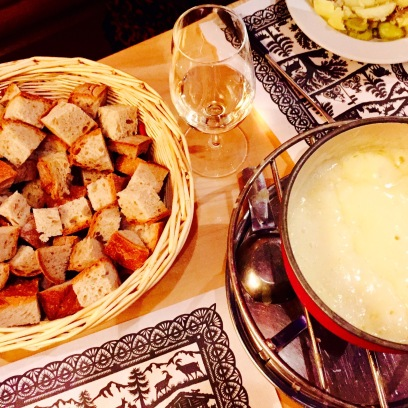 We paired our bread and cheese fondue with a bottle of Pinot Grigio, and it was a match made in cheesy heaven.