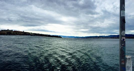 Panoramic view of Lake Zurich.