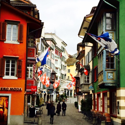 I loved the vibrant buildings with the multitude of Swiss flags out front waving in the wind.