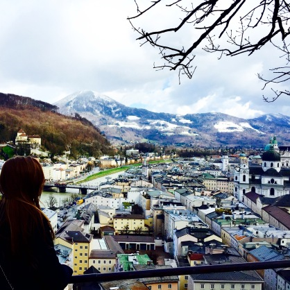 View of the Alps from the Mönchsberg, one of Salzburg's five mountains.