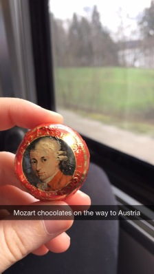 One of the many snapchats I sent to friends and family during my months abroad. It was fitting that I was eating Mozart chocolates while on the way to the place of his birth.