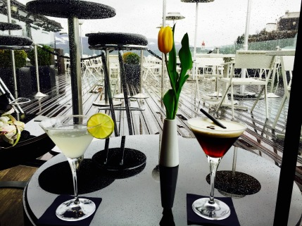 Enjoying drinks at Hotel Stein's rooftop bar, a filming location used in the 2010 movie