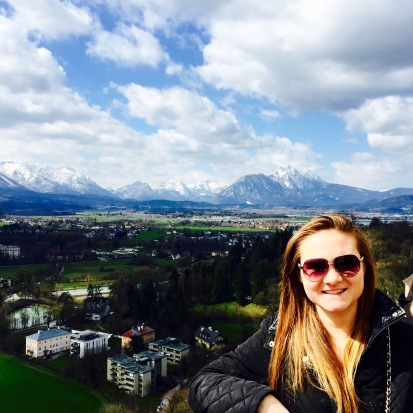 View of the Alps from the Fortress Hohensalzburg.