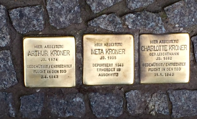 memorial blocks for victims of the Holocaust