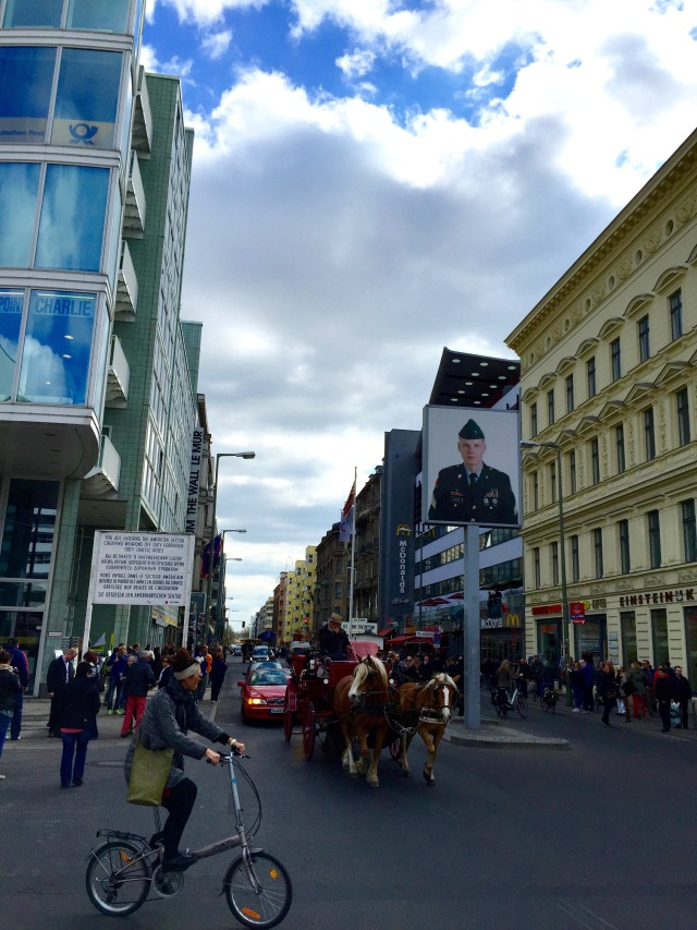 View of Checkpoint Charlie leading to Berlin's American sector