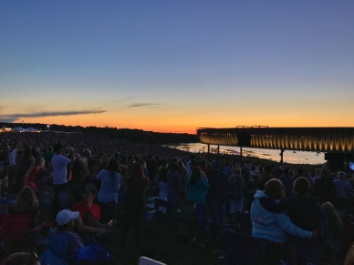 Sunset at Lakeview Amphitheater in Syracuse, NY. Artist performing: Zac Brown Band