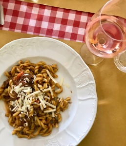 Gemelli pasta with deer